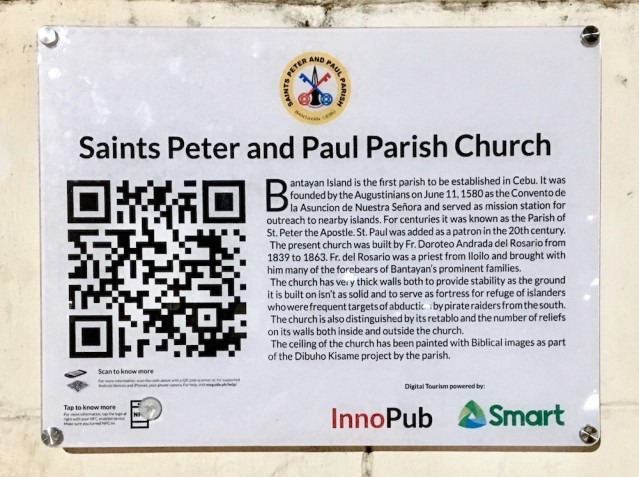 """Locals and visitors can scan this QR code to get more information about the church and its """"Dibuho sa Kisame."""""""
