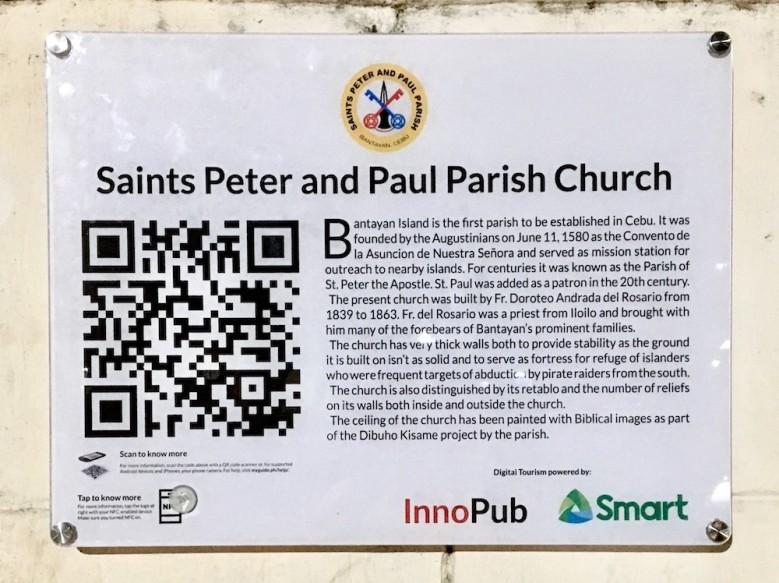 "Locals and visitors can scan this QR code to get more information about the church and its ""Dibuho sa Kisame."""